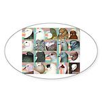 Twenty Pigeon Heads Oval Sticker (10 pk)