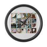 Twenty Pigeon Heads Large Wall Clock