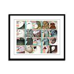 Twenty Pigeon Heads Framed Panel Print