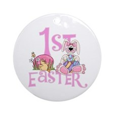 Bunny and Eggs 1st Easter Ornament (Round)