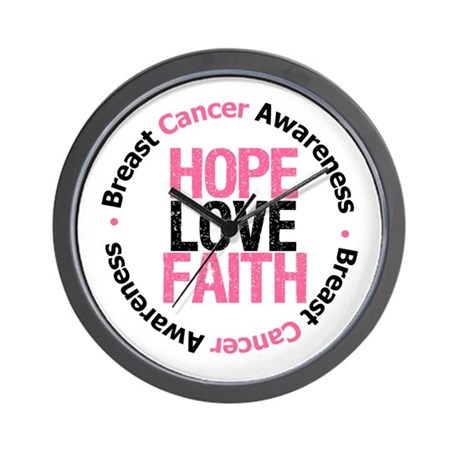 BreastCancer HopeLoveFaith Wall Clock