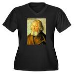 Holzochu Women's Plus Size V-Neck Dark T-Shirt