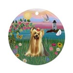 Yorkie at the Shore Ornament (Round)