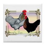 Black SL Chickens Tile Coaster