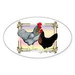 Black SL Chickens Oval Sticker