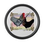 Black SL Chickens Large Wall Clock