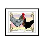 Black SL Chickens Framed Panel Print