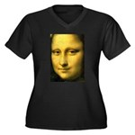 Mona Lisa Detail Women's Plus Size V-Neck Dark T-S