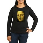 Mona Lisa Detail Women's Long Sleeve Dark T-Shirt