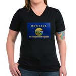 Montana-4 Women's V-Neck Dark T-Shirt