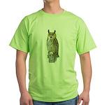 Fuertes' Great Horned Owl Green T-Shirt
