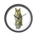 Fuertes' Great Horned Owl Wall Clock