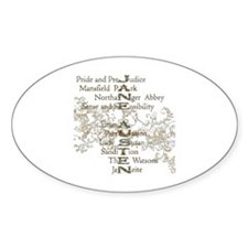 Jane Austen Books 5 Oval Decal