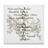 Jane Austen Books 5 Tile Coaster