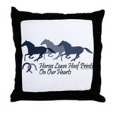 Hoof Prints On Our Hearts Throw Pillow