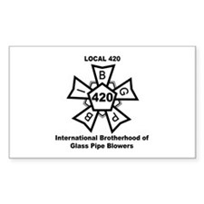 Local 420 Glass Blowers Union Rectangle Decal
