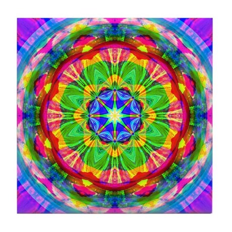 Bright Kaleidoscope Tile Coaster