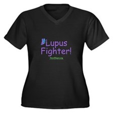 Lupus Fighter Women's Plus Size V-Neck Dark T-Shir