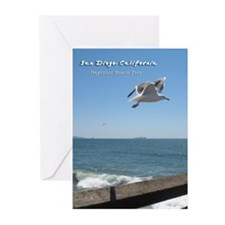 Imperial Beach Pier, San Diego Greeting Cards (Pk