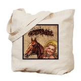 Cowgirl & Horse Label Tote Bag