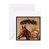 Cowgirl & Horse Label Greeting Card