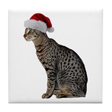Savannah Cat Christmas Tile Coaster