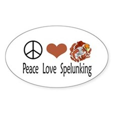 Peace Love Spelunking Oval Decal