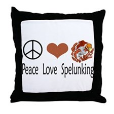 Peace Love Spelunking Throw Pillow