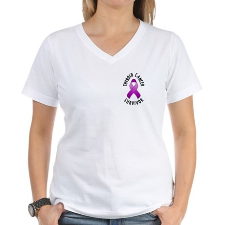 Thyroid Cancer Survivor Women's V-Neck T-Shirt