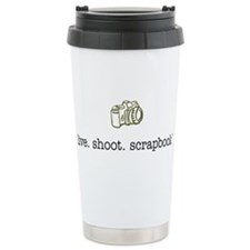 live. shoot. scrapbook. - Thermos Mug