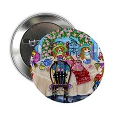 "Corgi Tea In The Rose Garden 2.25"" Button"