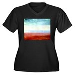 Colour Women's Plus Size V-Neck Dark T-Shirt