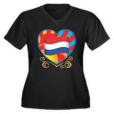 Dutch Heart Women's Plus Size V-Neck Dark T-Shirt
