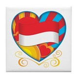 Indonesian Heart Tile Coaster