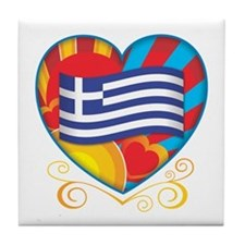 Greek Heart Tile Coaster