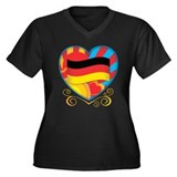 German Heart Women's Plus Size V-Neck Dark T-Shirt