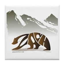 Zach (Brown Bear in Mountains) Tile Coaster