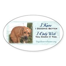 Sad Dog Chained Oval Decal