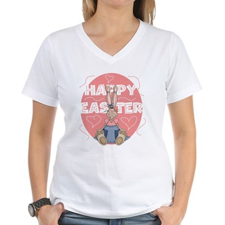 Girl Bunny Women's V-Neck T-Shirt