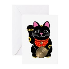 Black Maneki Neko Greeting Cards (Pk of 10)