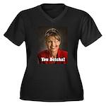 YOU BETCHA Women's Plus Size V-Neck Dark T-Shirt