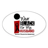 I Wear Black For My Husband 9 Oval Decal