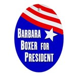 Boxer for President Oval Ornament