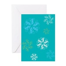 Bicyclist Snowflakes Greeting Cards (Pk of 10)