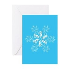 Bicyclist Snowflake Greeting Cards (Pk of 20)