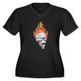 White Flaming Skull Women's Plus Size V-Neck Dark