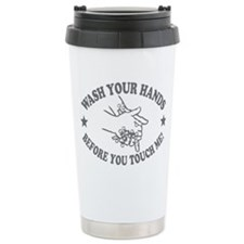 Wash Your Hand! Gray Stainless Steel Travel Mug