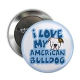 I Love my American Bulldog Button (Cartoon)