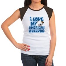 I Love my American Bulldog Women's Cap Sleeve Tee