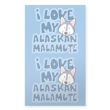 I Love my Alaskan Malamute Sticker (Cartoon)